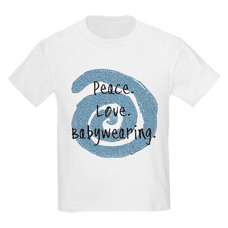 Peace. Love. Babywearing. Kids Light T-Shirt
