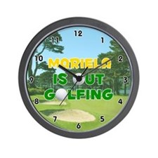 Mariela is Out Golfing (Gold) Golf Wall Clock