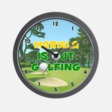 Mariela is Out Golfing (Gold) Golf Wall Clock