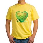 Mom Heart (blue) Yellow T-Shirt