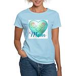 Mom Heart (blue) Women's Pink T-Shirt