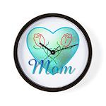 Mom Heart (blue) Wall Clock