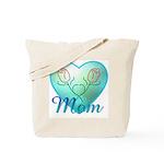 Mom Heart (blue) Tote Bag
