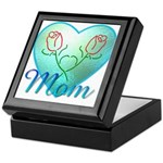 Mom Heart (blue) Keepsake Box