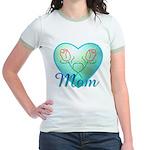 Mom Heart (blue) Jr. Ringer T-Shirt