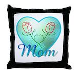 Mom Heart (blue) Throw Pillow