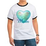 Mom Heart (blue) Ringer T