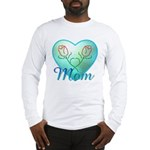 Mom Heart (blue) Long Sleeve T-Shirt