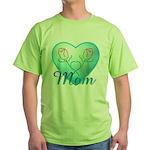 Mom Heart (blue) Green T-Shirt