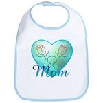 Mom Heart (blue) Bib
