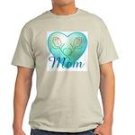 Mom Heart (blue) Ash Grey T-Shirt