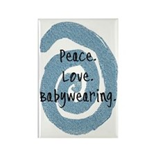 Peace. Love. Babywearing. Rectangle Magnet (100 pa