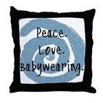 Peace. Love. Babywearing. Throw Pillow