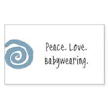 Peace. Love. Babywearing. Rectangle Decal