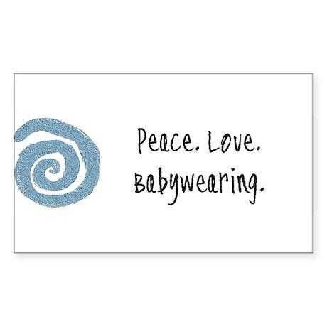 Peace. Love. Babywearing. Rectangle Sticker
