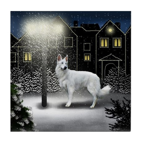 White German Shepherd Dog Snow City Tile Coaster