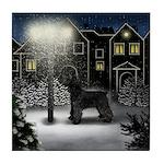 GIANT SCHNAUZER DOG SNOW CITY Tile Coaster
