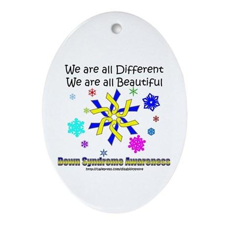 DS Ribbon Snowflake Oval Ornament