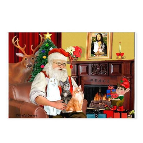 Santa's 3 cats Postcards (Package of 8)