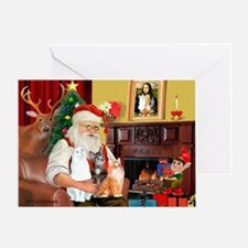 Santa's 3 cats Greeting Card