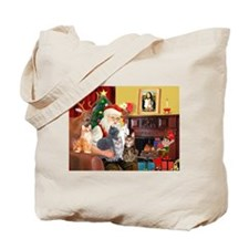 Santa's Five Cats Tote Bag