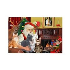 Santa's Five Cats Rectangle Magnet