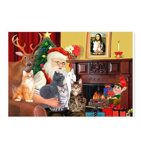 Santa's Five Cats Postcards (Package of 8)