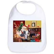 Santa's Five Cats Bib