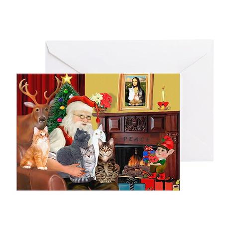 Santa's Five Cats Greeting Cards (Pk of 10)