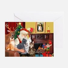 Santa's Five Cats Greeting Card
