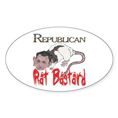 scratched Rat Bastard Oval Decal