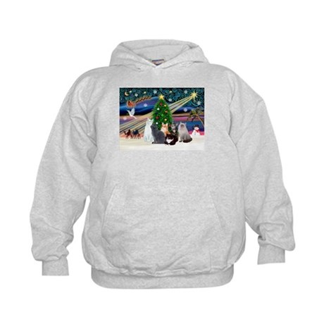 Xmas Magic / Six Cats Kids Hoodie
