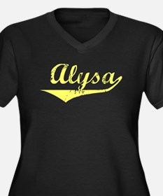 Alysa Vintage (Gold) Women's Plus Size V-Neck Dark