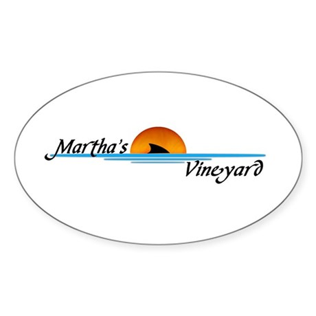 Martha's Vineyard Shark Oval Sticker
