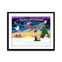 Peace / Siamese Cat Framed Panel Print