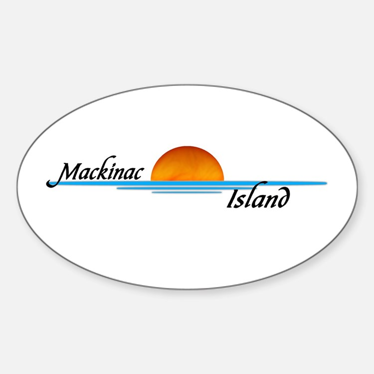 Mackinac Island Sunset Oval Decal