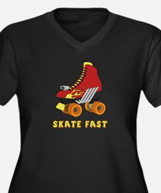 Skate Fast  Women's Plus Size V-Neck Dark T-Shirt