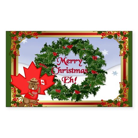 Canadian Christmas Rectangle Sticker