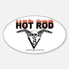 Hot rod skull flames Oval Decal