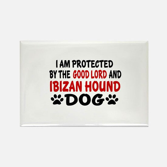 Protected By Ibizan Hound Dog Rectangle Magnet
