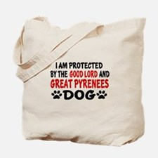 Protected By Great Pyrenees Dog Tote Bag