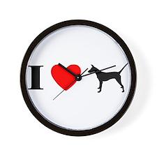 I Heart Smooth Podengo Wall Clock