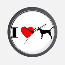 I Heart Smooth Podengo Wall Clock