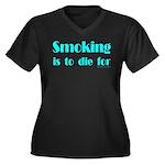 Anti-Smoking Women's Plus Size V-Neck Dark T-Shirt