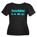 Anti-Smoking Women's Plus Size Scoop Neck Dark T-S