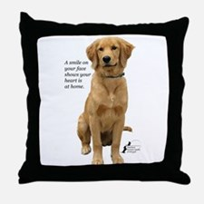 Smiling Golden Retriever Throw Pillow