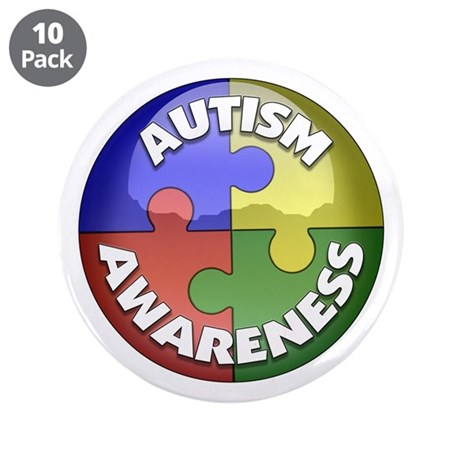 "Autism Awareness Jewel 3.5"" Button (10 pack)"