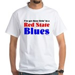 Red State Blues White T-Shirt