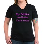 My Politics Women's V-Neck Dark T-Shirt