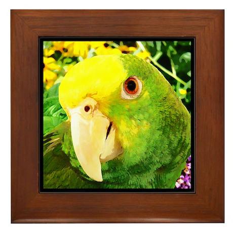 Painting Amazon Parrot Framed Tile